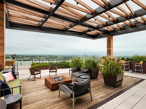 FSC Certified Ipe rooftop deck columns and pergola