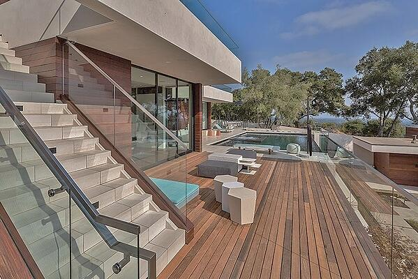 FSC Certified Machiche hardwood decking poolside
