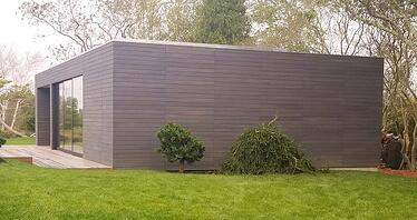 FSC Hardwood siding with Climate-Shield rain screen system