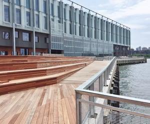 FSC Jatoba hardwood decking and benches at Pier 17 New York City