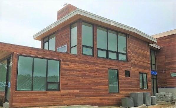 FSC Machiche hardwood rainscreen in Amagansett