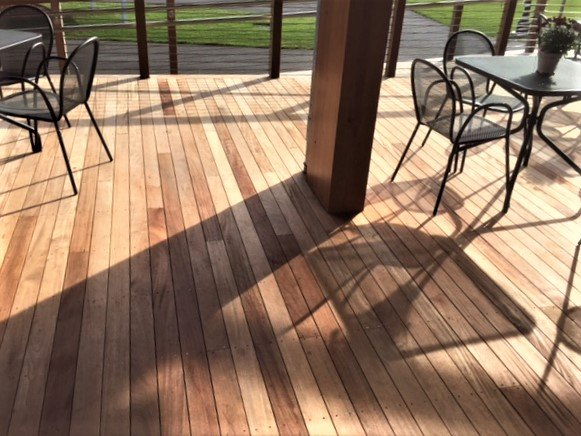 FSC certified hardwood decking with stainless steel screw deck fasteners