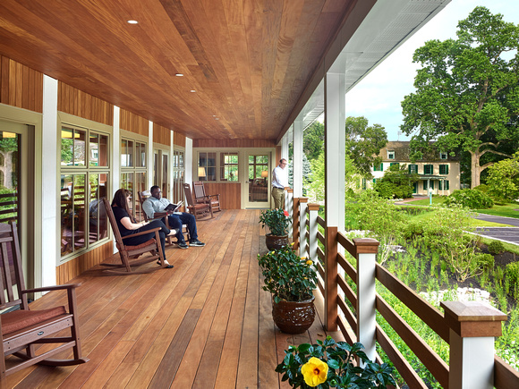 Garapa decking, railing soffits and vertical siding at Lasalle University