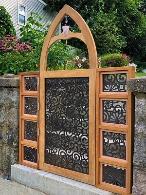 Garapa hardwood custom arched gate