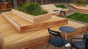 Garapa rooftop decking, benches and planters