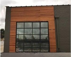 Garapa wood rain screen in Charlotte