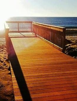Garapa hardwood decking on Ortley beach boardwalk Toms River New Jersey