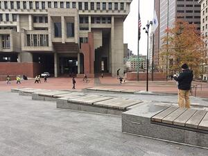 Ipe benches at granite walkway and steps