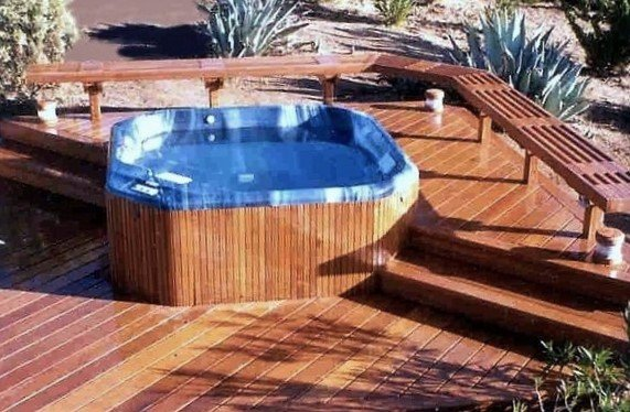 Ipe deck and benches with heavy load hot tub
