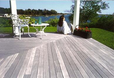 Exterior hardwoods can meelow to a silvery gray patina for a low maintenance decking or wood siding option