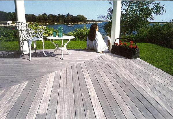 Ipe deck weathered to silvery gray patina