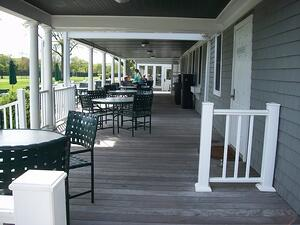 Ipe decking on covered porch at private club in Rhode Island