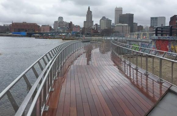 Ipe decking on east side of Providence Pedestrian Bridge