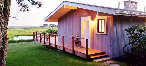 Ipe hardwood decking and Ipe rainscreen siding on Cape Cod