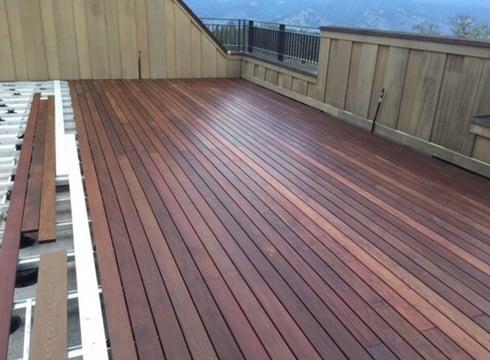 Ipe hardwood rooftop deck installation