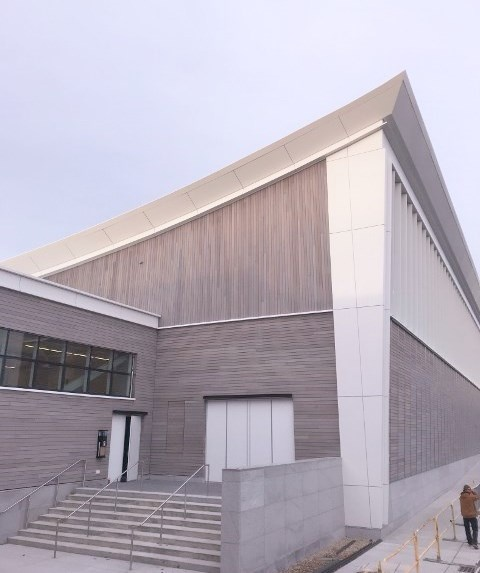 Ipe rain screen siding on Providence College athletic facility