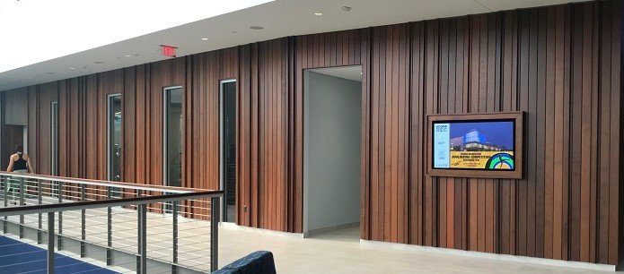 Ipe rainscreen makes great architectural inside Uconn Rec Center-1