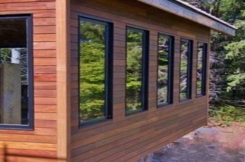 Ipe rainscreen siding with vertical outside corners