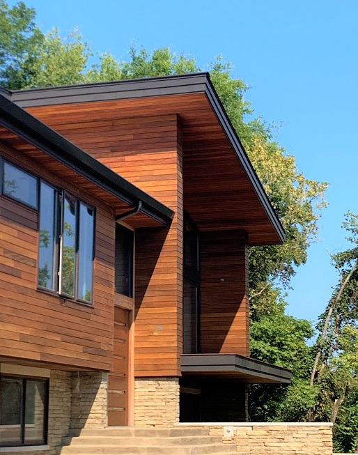 Ipe rainscreen siding, outside corners and soffits with Climate-Shield system