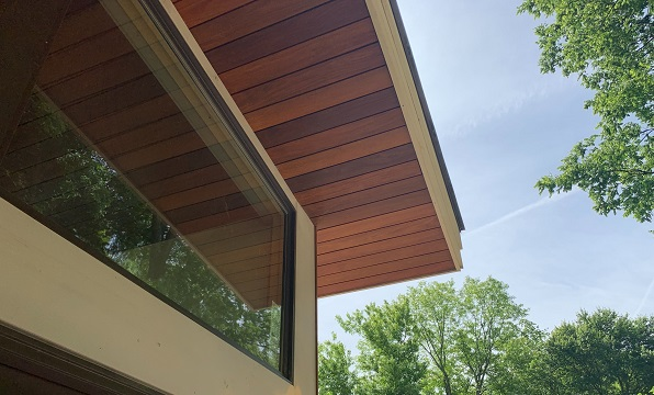 Ipe rainscreen soffit with Climate-Shield CS10 specialty clip