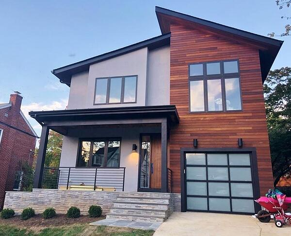 Ipe wood siding works great with EIFS and black trim