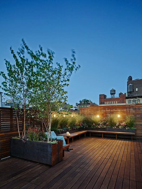 Ipe rooftop deck and garden by Organic Gardener NYC