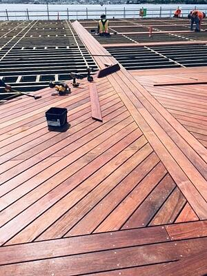 Machiche hardwood boardwalk fastened with stainless steel deck screws