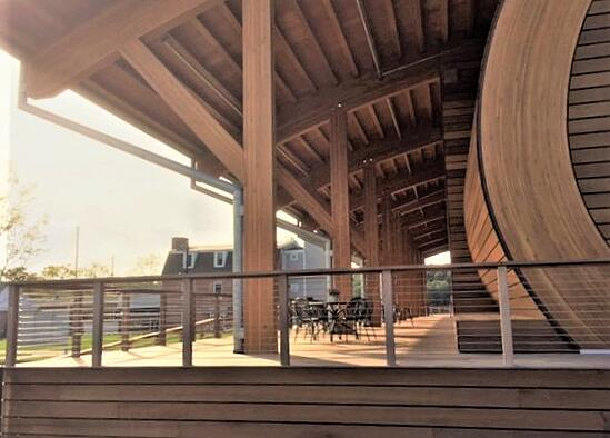 Mahogany hardwood decking on covered proches at Mystic Seaport