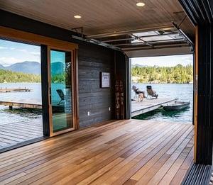 Mataverde Therma Wood Hemlock decking on lakefront