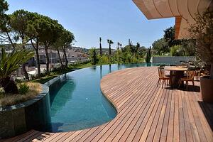 Mataverde thermowood deck at pool area