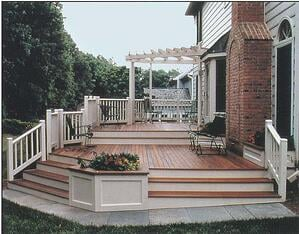 Multi level Ipe deck and stairs with pergola