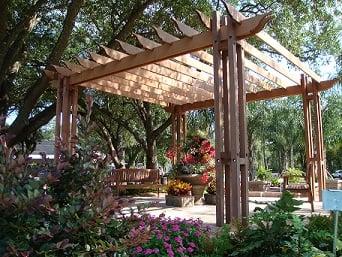 Ipe hardwood pergola garden retreat with benches