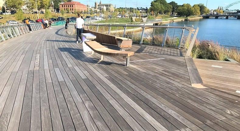 Providence Pedestrian Bridge hardwood decking
