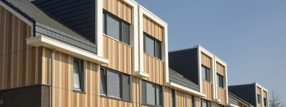 Trespa Pura vertical design for apartments  using multiple colors