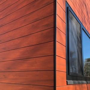 Trespa Royal mahogany wood decor with black trim