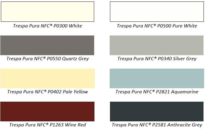 Trespa pura new uni colours