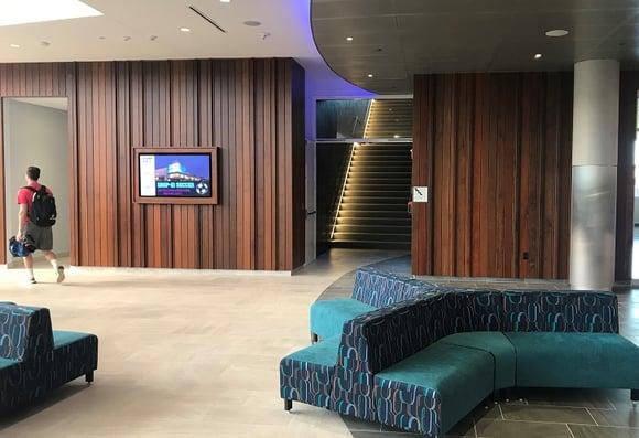 Vertical Ipe rainscreen installation indoors