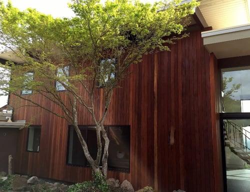 Vertical wood rain screen California