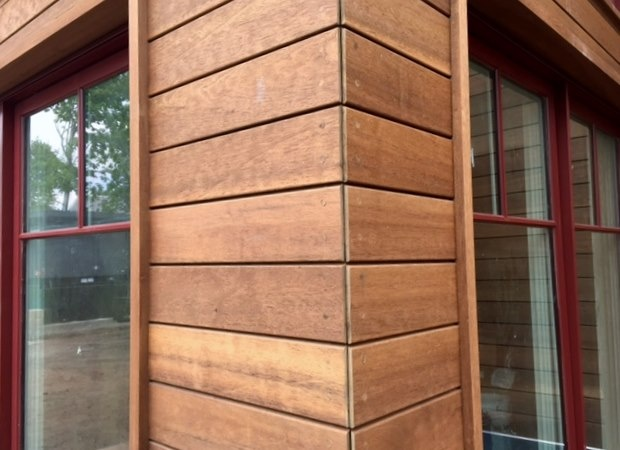 Wood rain screen outside corner with quirk miter, screws and wood plugs.jpg