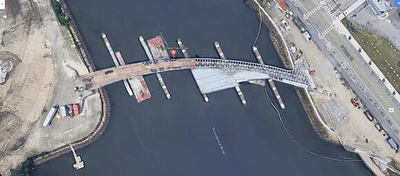 satellite view of Providence Pedestrian Bridge during construction
