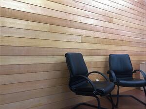 thermally modified hemlock cladding may be used indoors or outdoors