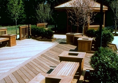 Ipe decking, benches and outdoor furniture weathering naturally