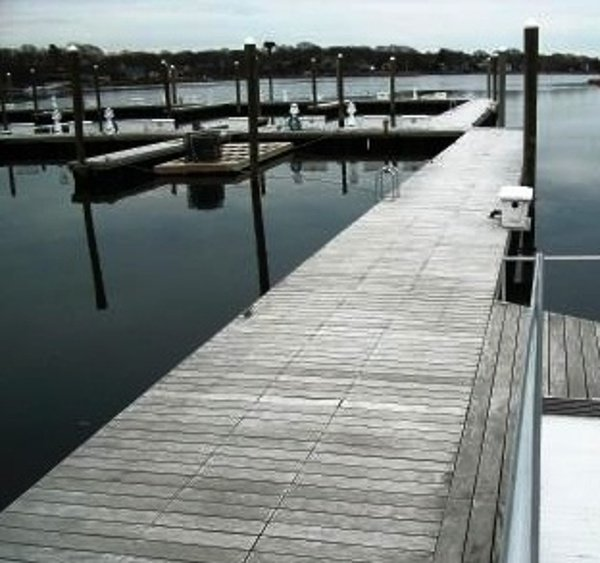 Garapa Decking weathering to a silvery patina on a dock in Rhode_Island
