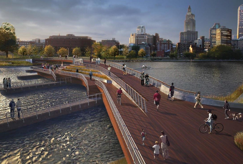 Architectural rendering of Ipe deck on Providence Pedestrian Bridge
