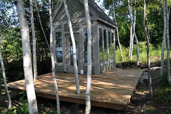 Garapa deck in the Maine woods