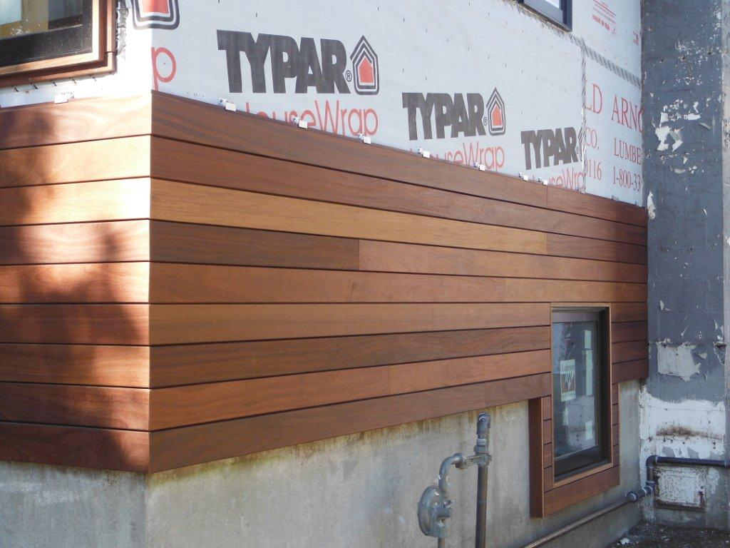 Cumaru hardwood rainscreen siding in Rhode Island