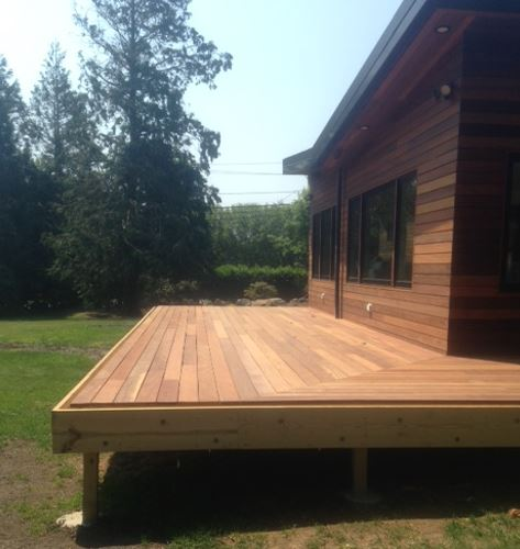 Cumaru hardwood deck and rain screen siding