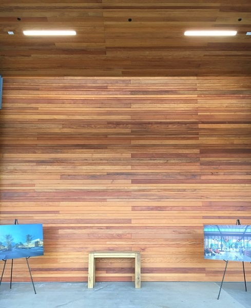 Garapa horizontal rain screen and soffits