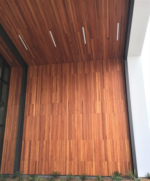 Garapa vertical rainscreen and soffits