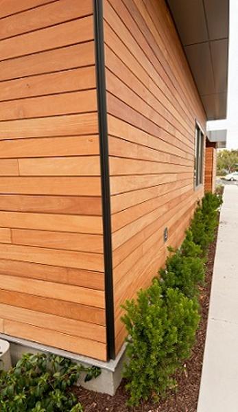 Garapa Rain Screen with custom outside corner